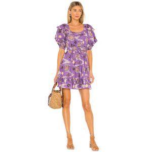 NWOT Ulla Johnson Naomi Dress Women's 16 Purple Floral Puff Sleeve Fit & Flare